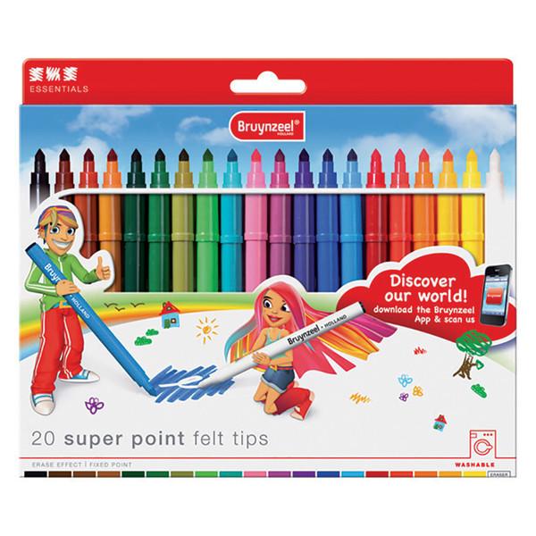 ماژیک ۲۰ رنگ برنزیل مدل super point felt tips