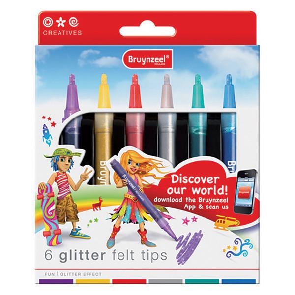 ماژیک ۶ رنگ برنزیل مدل glitter felt tips
