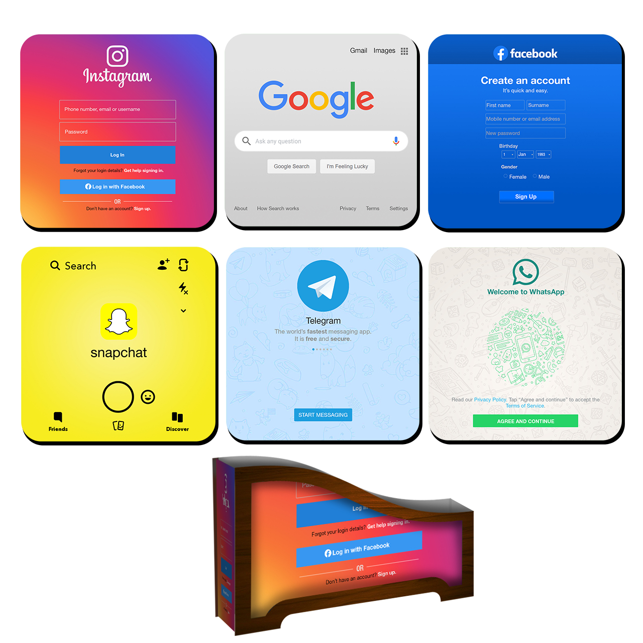 زیر لیوانی لوکسینو مدل شبکه های اجتماعی کد B_2019 بسته 6 عددی