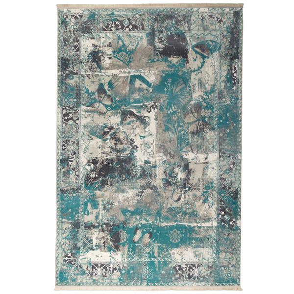 فرش ماشینی محتشم طرح کهنه نما کد 100629 زمینه فیروزه ای