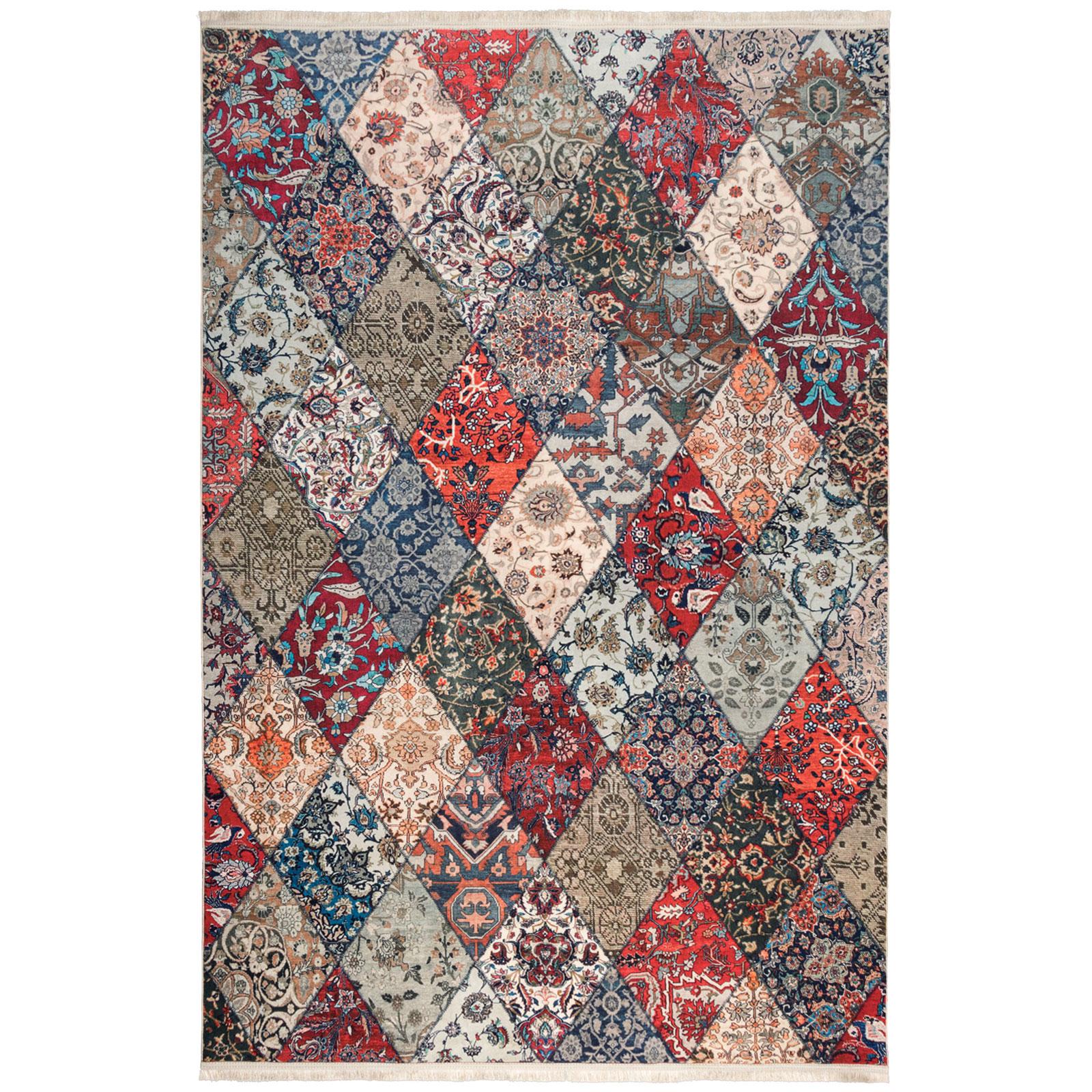 فرش ماشینی محتشم طرح چهل تکه کد 100509 زمینه لاکی