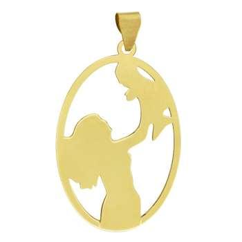 آویز گردنبند طلا 18 عیار زنانه طرح مادر و کودک کد UN062