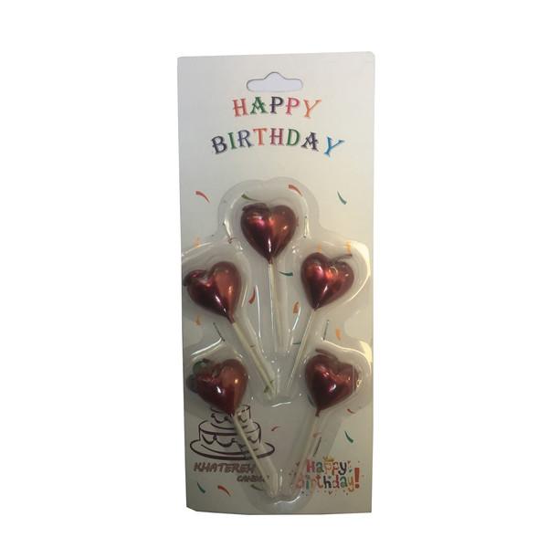 شمع تولد طرح قلب کد 20 بسته 5 عددی