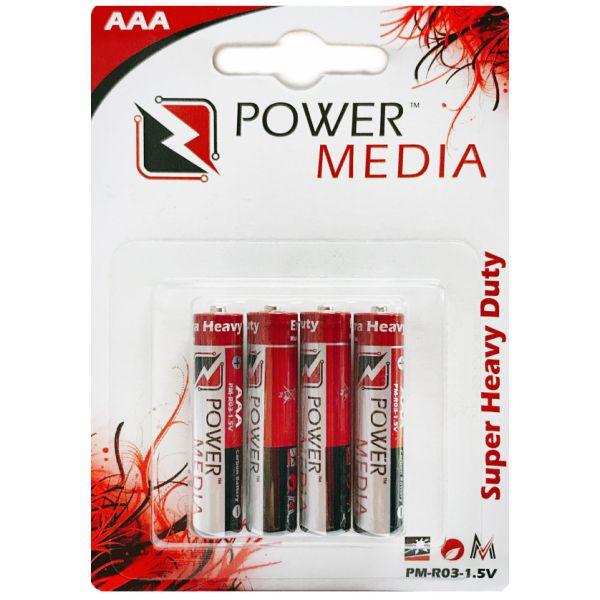باتری نیم قلمی پاورمدیا مدل Super Heavy Duty بسته 4 عددی