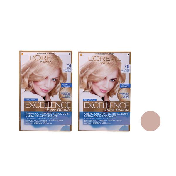 کیت رنگ مو لورآل سری Excellence شماره 01 حجم 45 میلی لیتر مجموعه 2 عددی