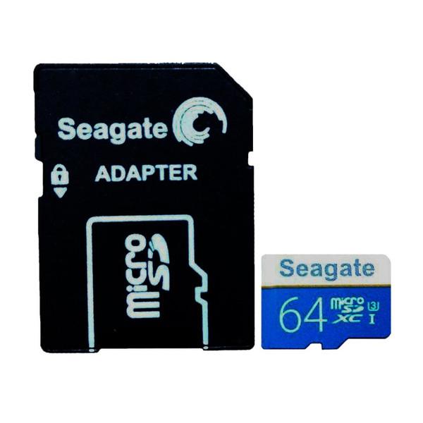 کارت حافظه microSDXC سیگیت مدل HTT کلاس 10 استاندارد UHS-I U3 سرعت 100MBps ظرفیت 64 گیگابایت به همراه آداپتور SD