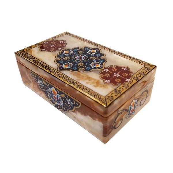 جعبه سنگی طرح تذهیب کاری ترنج کد 30127-7