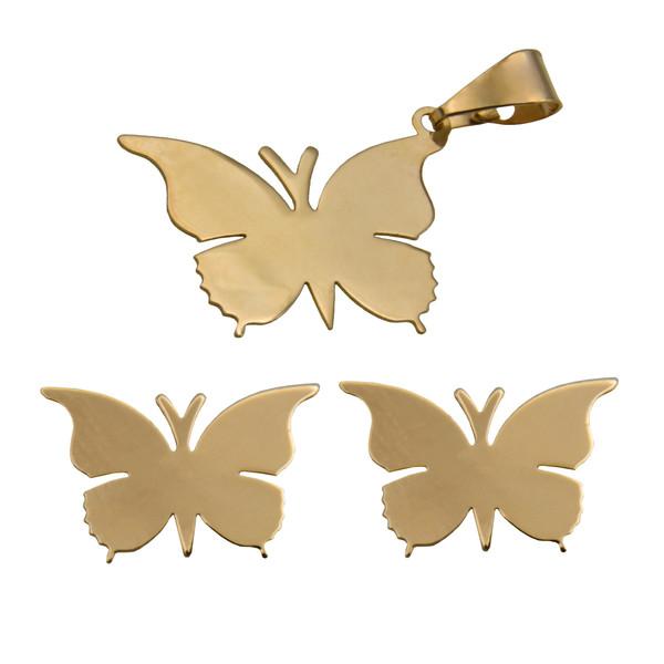 نیم ست طلا 18 عیار زنانه آرشا گالری طرح پروانه کد 453A2585