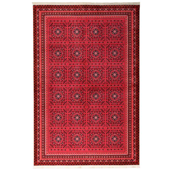 فرش ماشینی محتشم طرح سنتی ترکمن کد 100312 زمینه قرمز