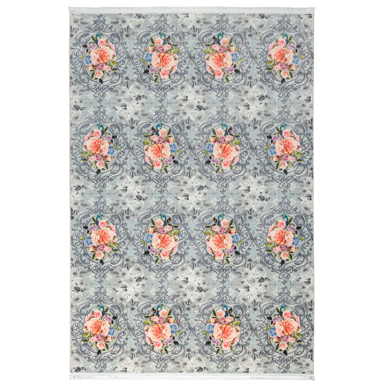 فرش ماشینی محتشم طرح گل کد 100444 زمینه فیلی