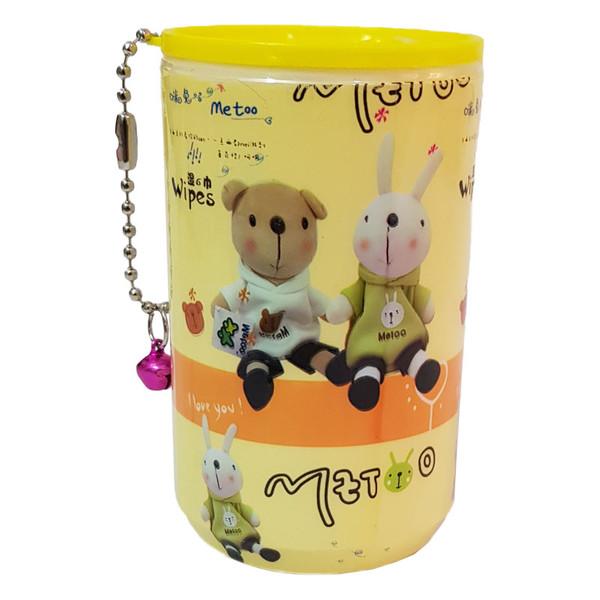 دستمال مرطوب طرح خرس و خرگوش کد 104000145 بسته 30 عددی