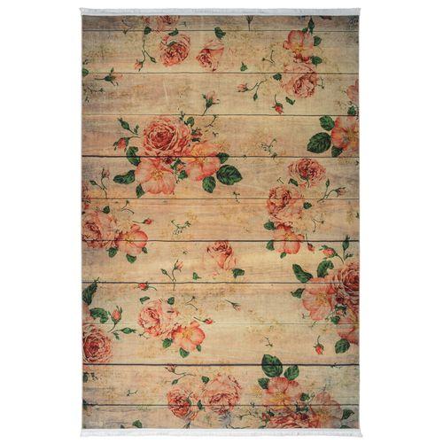 فرش ماشینی محتشم طرح گل کد 100452 زمینه بادامی