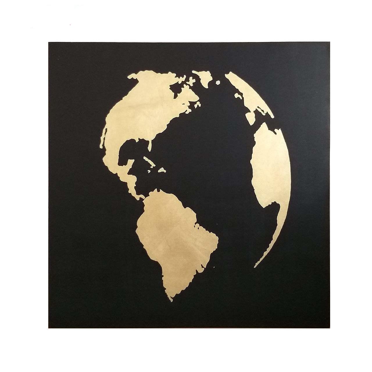 عکس تابلو نقاشی ورق طلا مدل کره زمین کد 039