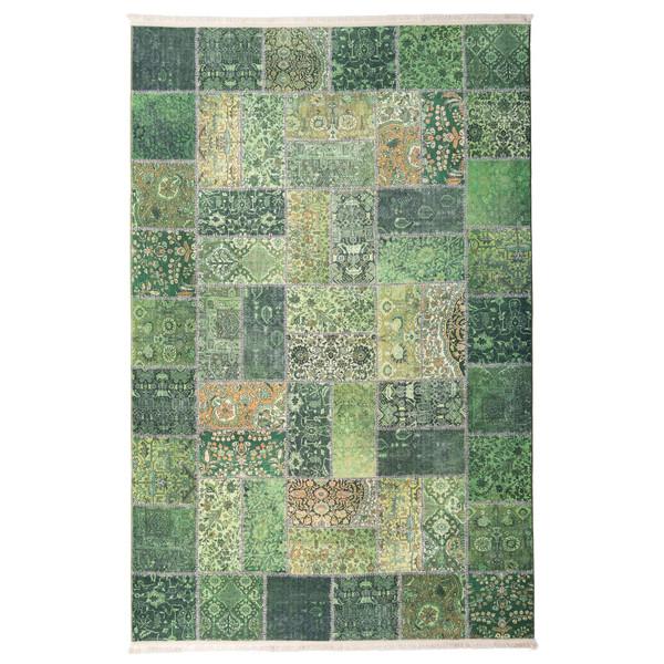 فرش ماشینی محتشم طرح چهل تکه کد 100511 زمینه سبز