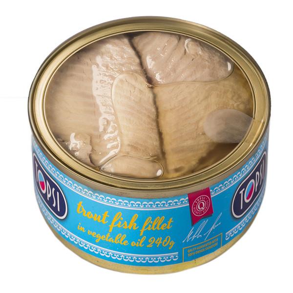 کنسرو ماهی قزل آلا در روغن تاپسی 240 گرمی