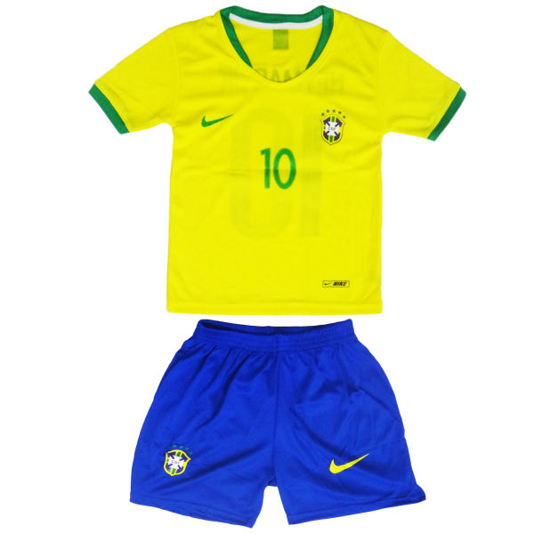 ست پیراهن و شورت ورزشی پسرانه طرح تیم ملی برزیل کد 2018