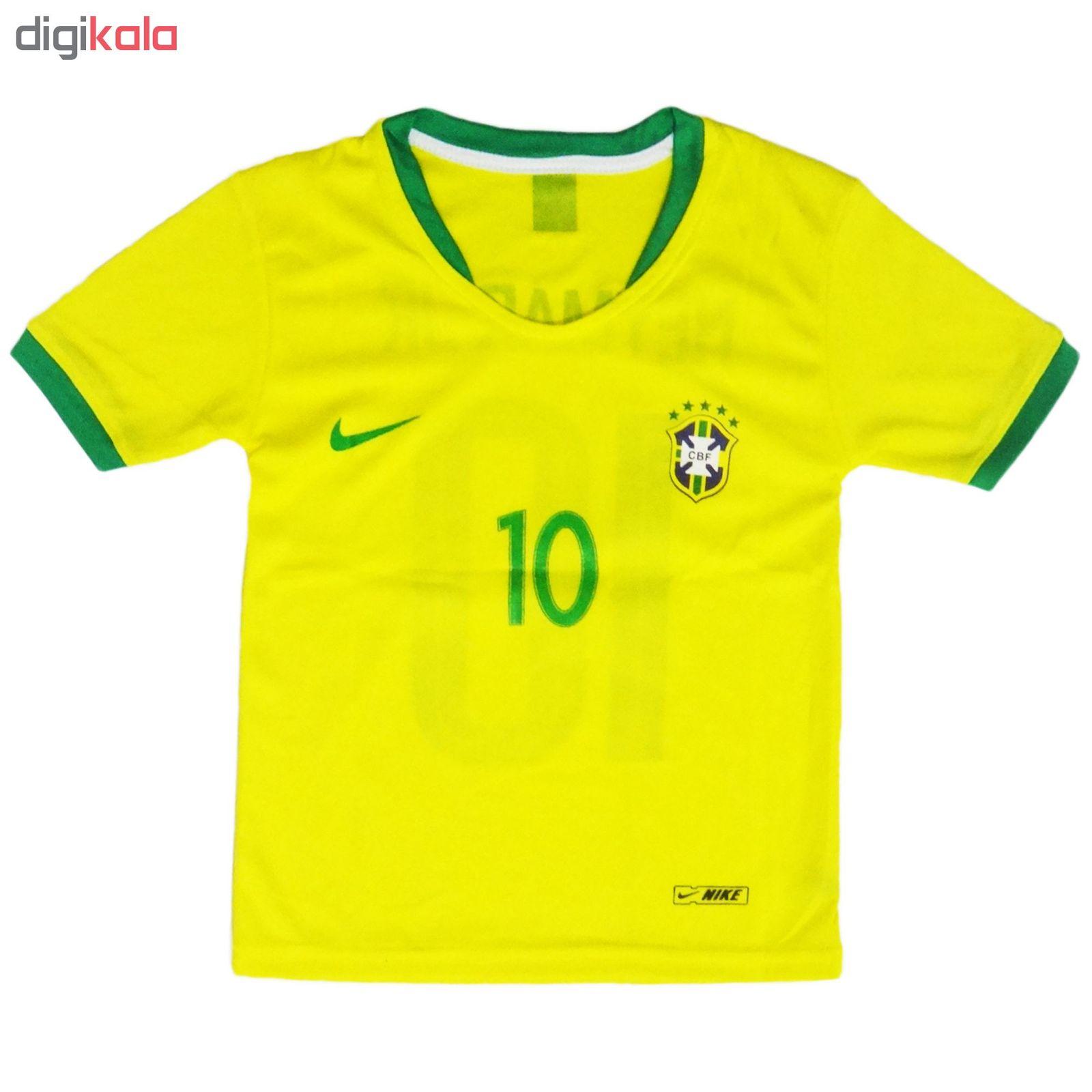 ست پیراهن و شورت ورزشی پسرانه طرح تیم ملی برزیل کد 2018 main 1 1