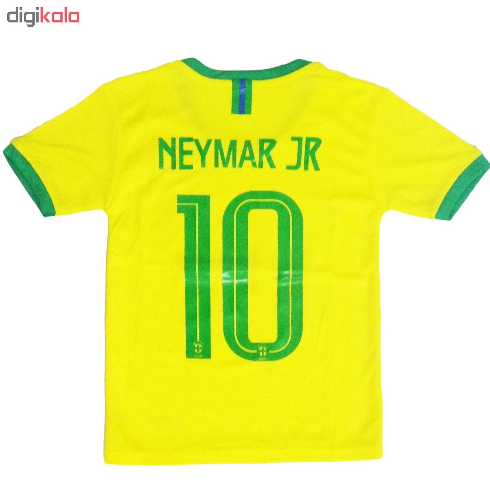ست پیراهن و شورت ورزشی پسرانه طرح تیم ملی برزیل کد 2018 main 1 2