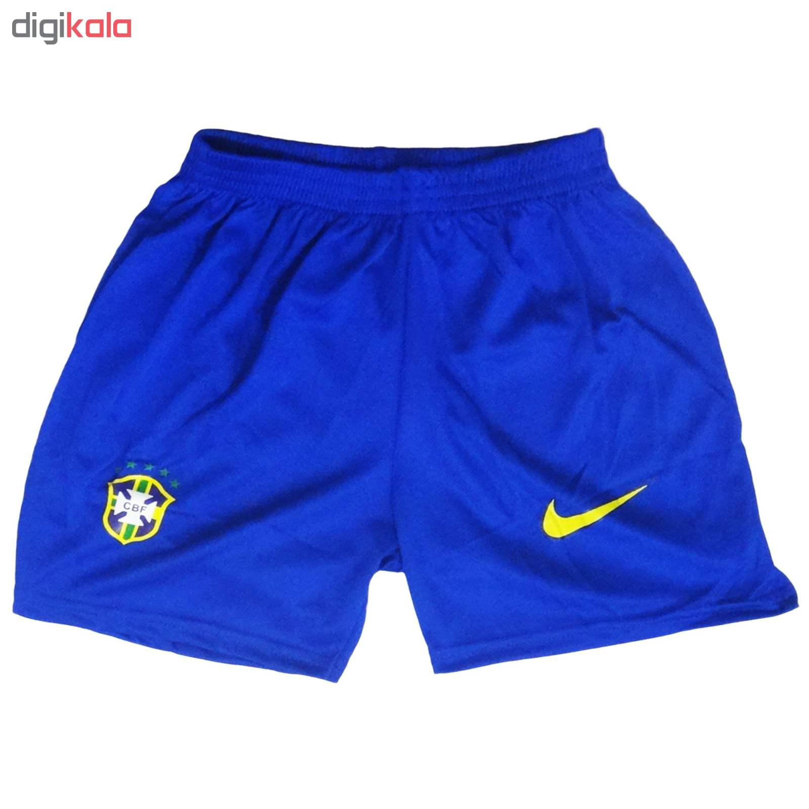 ست پیراهن و شورت ورزشی پسرانه طرح تیم ملی برزیل کد 2018 main 1 3