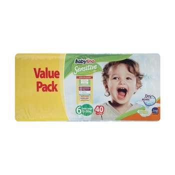 پوشک ضد حساسیت بیبی لینو مدل Value Pack سایز 6 بسته 40 عددی
