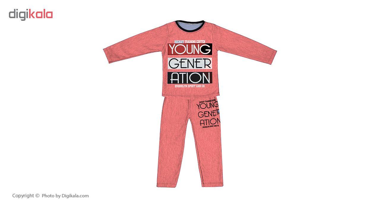 ست تی شرت و شلوار پسرانه کد 002 رنگ گلبهی