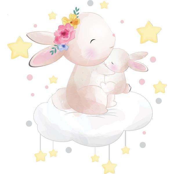 استیکر کودک طرح خواب خرگوش