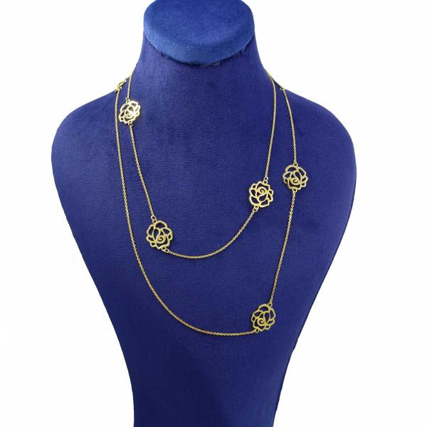 گردنبند طلا 18 عیار زنانه کانیار گالری طرح گل کد GR11