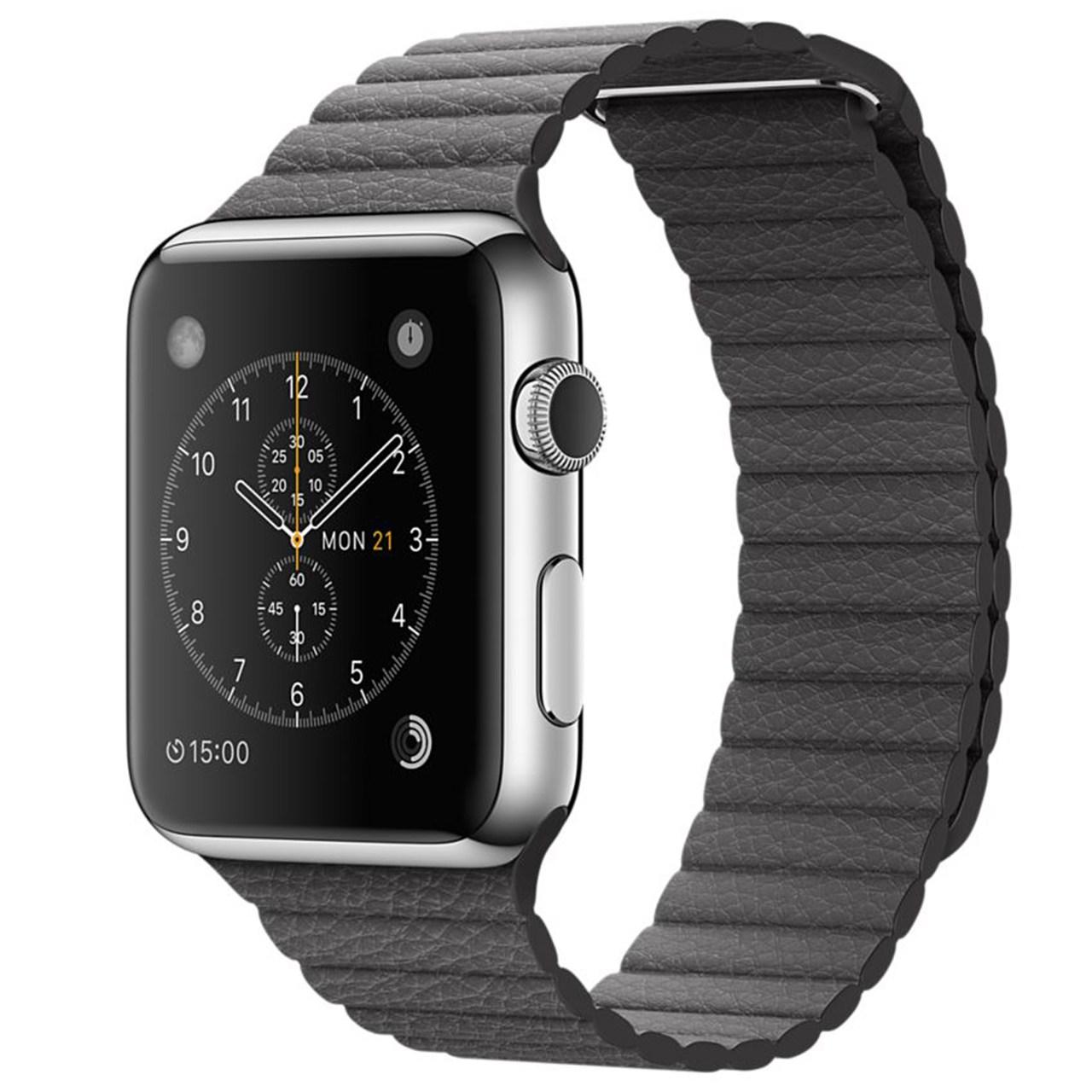 ساعت مچی هوشمند اپل واچ مدل 42mm Stainless Steel Case With Gray Leather Loop Band