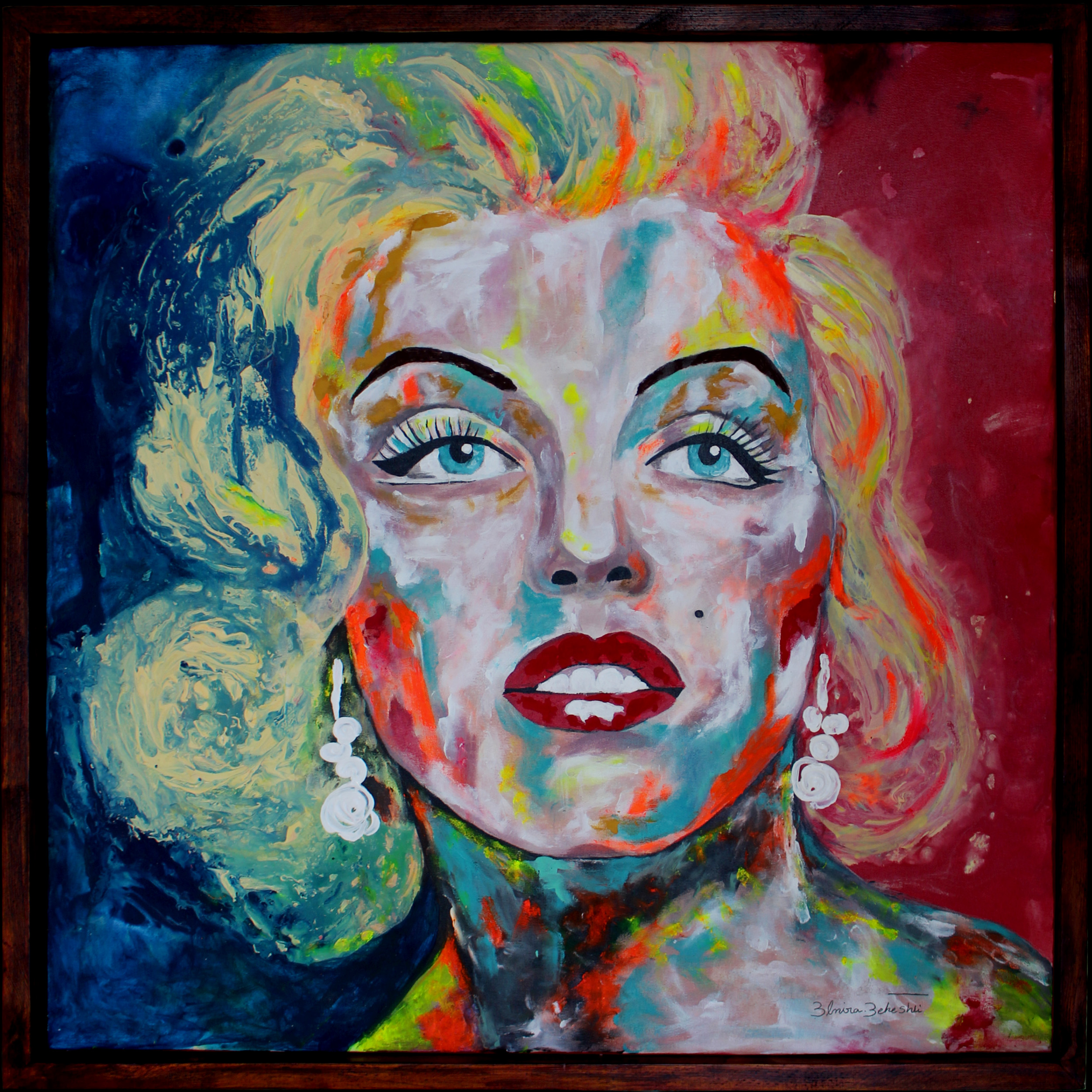تابلو نقاشی رنگ روغن طرح مرلین مونرو کد EM1004