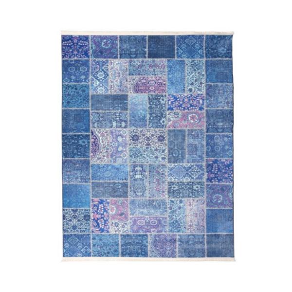 فرش ماشینی مدل چهل تکه کد 100511 زمینه آبی