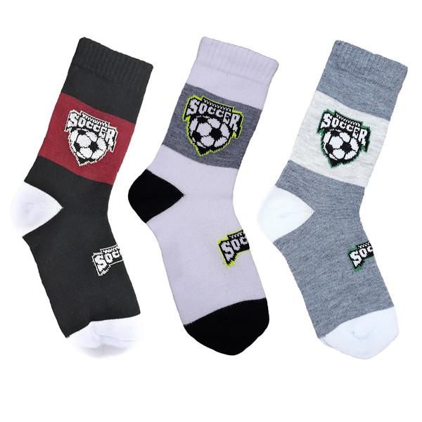 جوراب پسرانه طرح توپ فوتبال مجموعه 3 عددی
