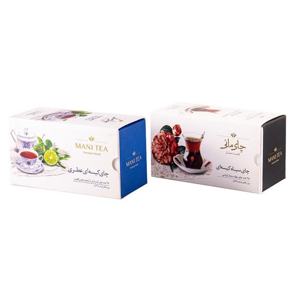 چای سیاه بهاره کیسه ای چای مانی بسته 25 عددی به همراه چای سیاه عطری