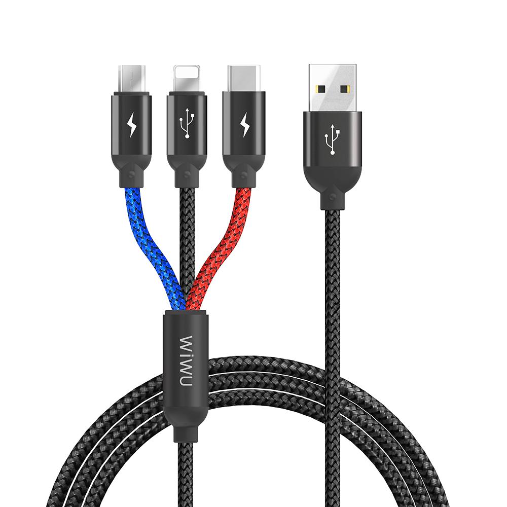 کابل تبدیل USB به USB-C/MicroUSB/لایتنینگ ویوو مدل YZ-102 طول 1.2 متر