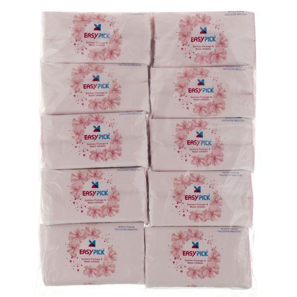 دستمال کاغذی 100 برگ ایزی پیک مدل Flower بسته 10 عددی