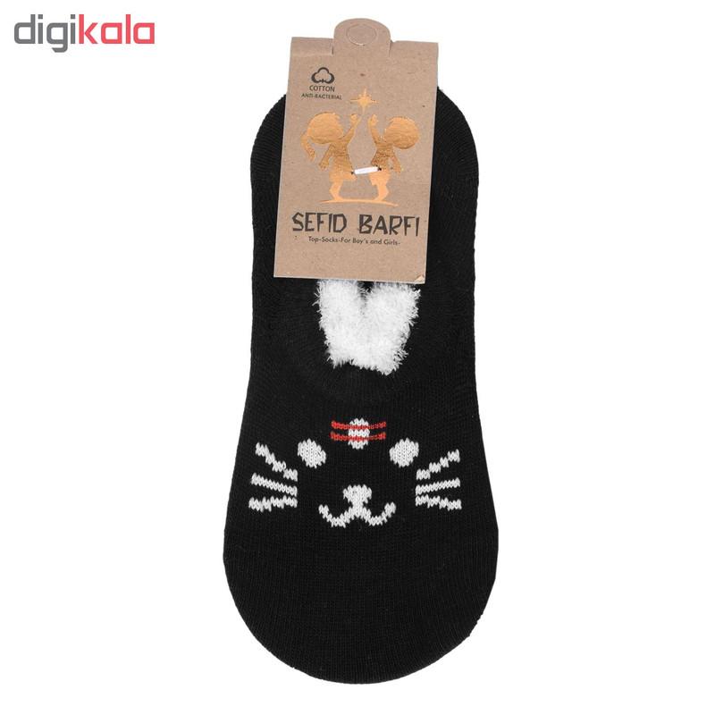 جوراب دخترانه سفید برفی طرح گربه کد SG38022