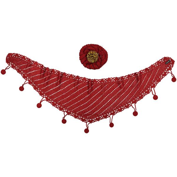 ست کلاه و شال گردن دخترانه ثمین مدل Smart رنگ قرمز