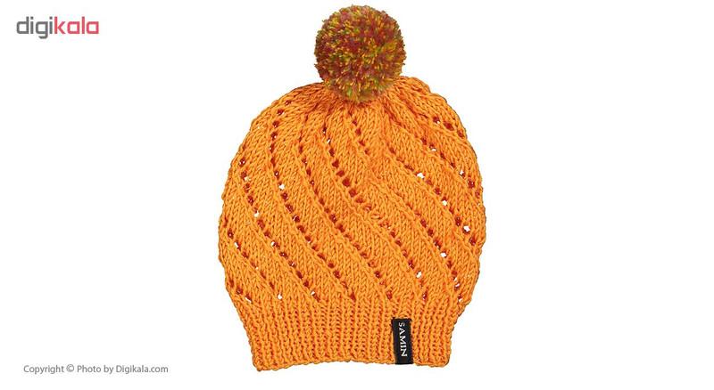 ست کلاه و شال گردن دخترانه ثمین مدل Smart رنگ نارنجی