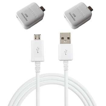 کابل تبدیل USB به microUSB مدل EP-DG925UWE طول 1.2 متر به همراه 2 عدد مبدل OTG microUSB