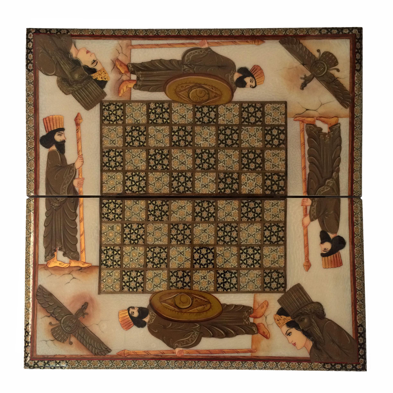 صفحه شطرنج خاتم کاری طرح هخامنش مدل T02