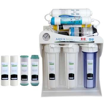دستگاه تصفیه کننده آب آکوآ اسپرینگ مدل AQ-SF2400 به همراه فیلتر دستگاه تصفیه کننده آب بسته 4 عددی