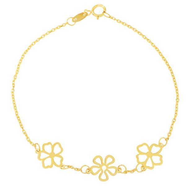 دستبند نقره زنانه طرح گل کد UN001
