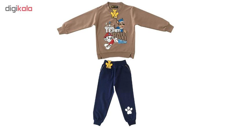 ست سویشرت و شلوار پسرانه خرس کوچولو مدل سگ نگهبان کد 01