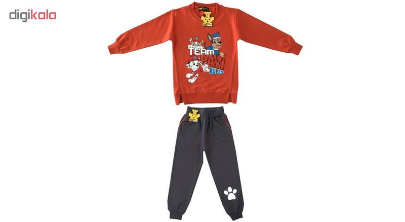 ست سویشرت و شلوار پسرانه خرس کوچولو مدل سگ نگهبان کد 02