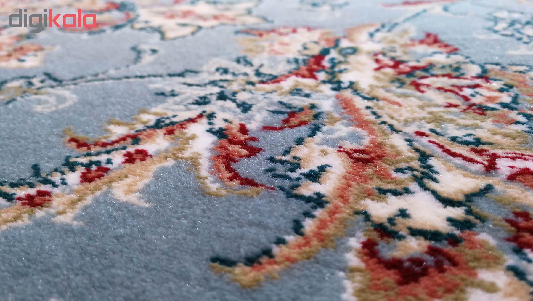 فرش ماشینی زمرد مشهد مدل نایین زمینه آبی