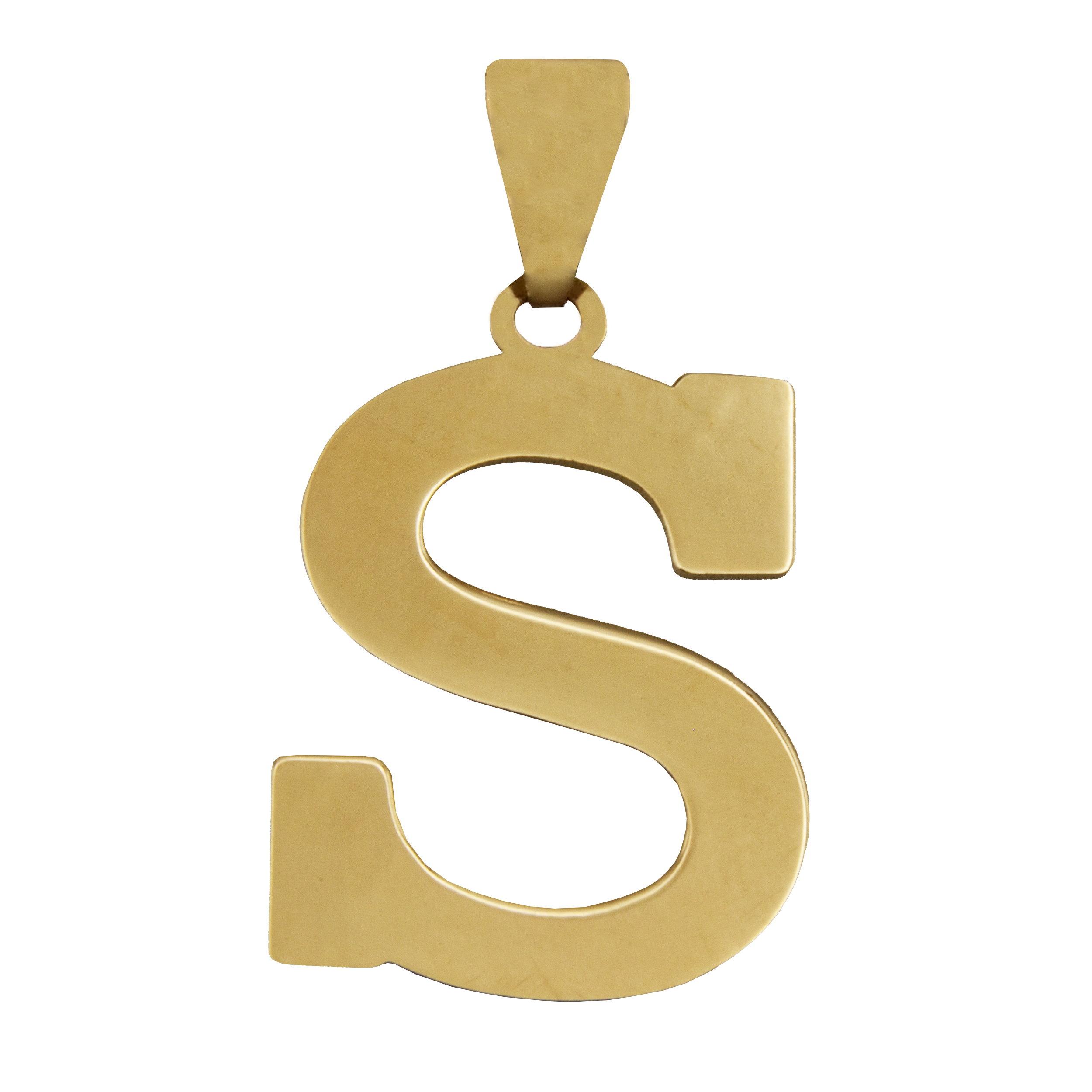 آویز گردنبند طلا 18 عیار زنانه آمانژ طرح S کد 457D2904