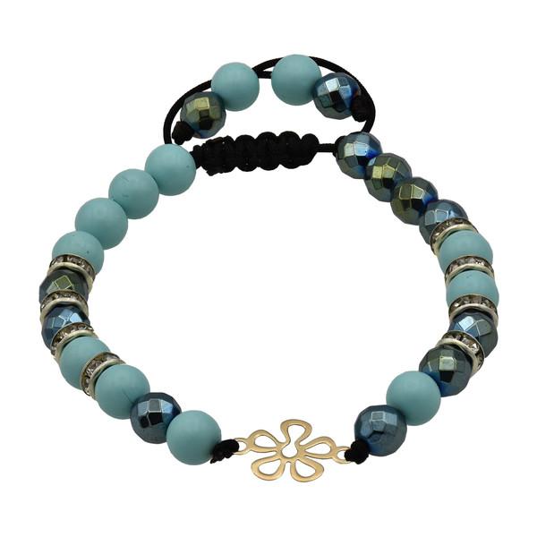 دستبند طلا 18 عیار زنانه طرح گل کد 504M222