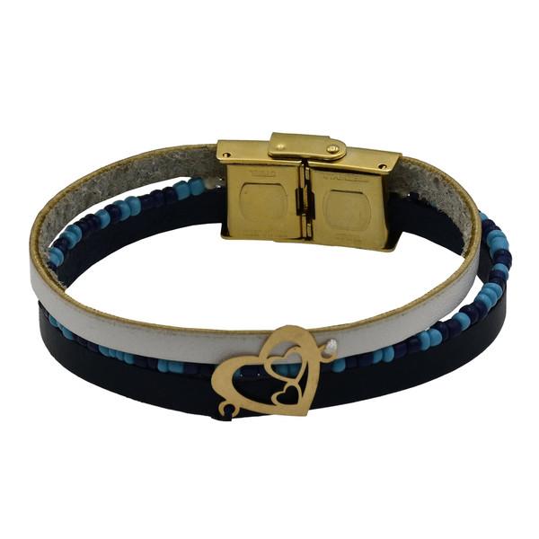 دستبند طلا 18 عیار زنانه طرح قلب کد 505M223