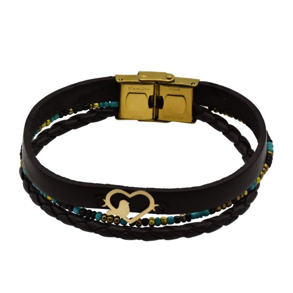 دستبند طلا 18 عیار زنانه آمانژ طرح قلب کد 467D2913