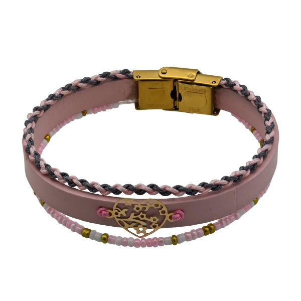 دستبند طلا 18 عیار زنانه آمانژ طرح قلب کد 468D2914