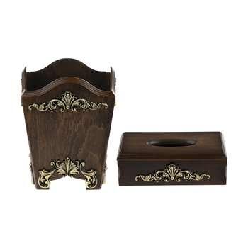 ست سطل و جعبه دستمال کاغذی فلورین مدل 02